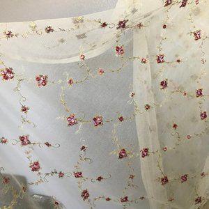 Vintage Accents - EUC Vintage Lace Embroidered Floral Curtain Panels